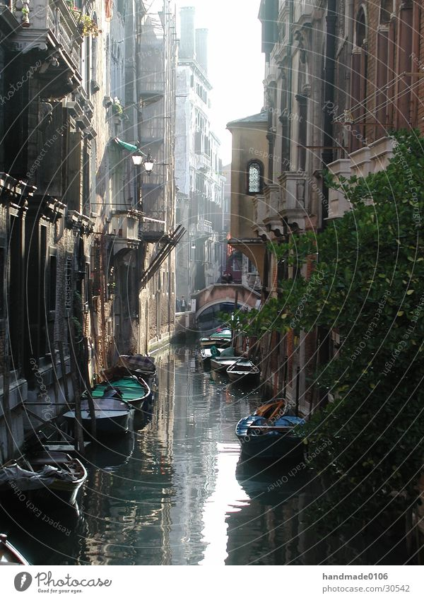 one day in venice Venice Ancient Watercraft Italy Europe Gracht Central perspective Gondola (Boat) Old Historic Historic Buildings Day Narrow Deserted