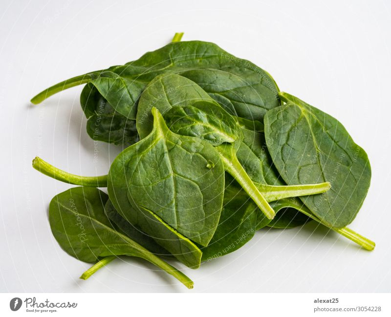 Spinach isolated Vegetable Vegetarian diet Diet Nature Plant Leaf Fresh Natural Green White background food healthy Ingredients Organic Raw Salad Top