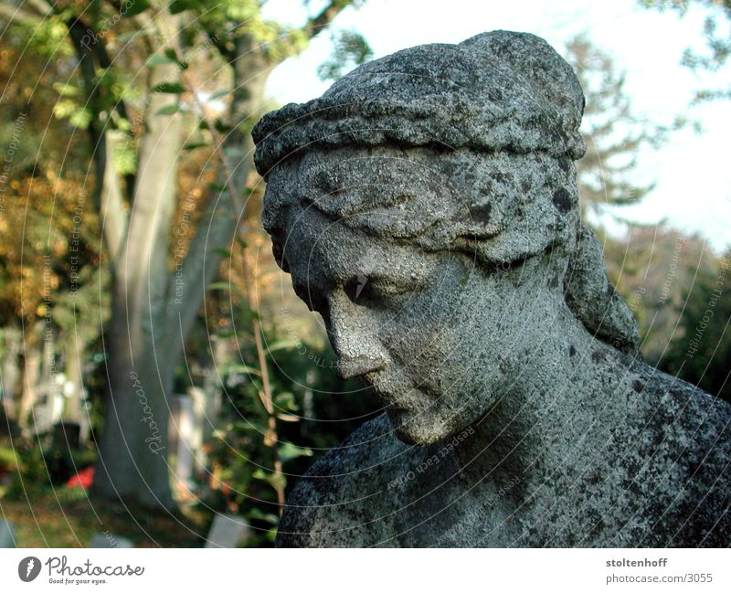 Woman Autumn Gray Stone Monument Historic Stuttgart Cemetery Portrait photograph