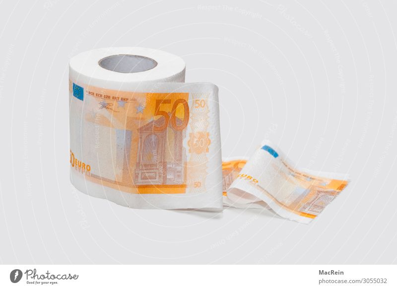 Printed toilet paper Toilet paper Paper sheet Money 50 euros Bank note paper roll Euro bill Fraud Coil Colour photo Interior shot Copy Space right