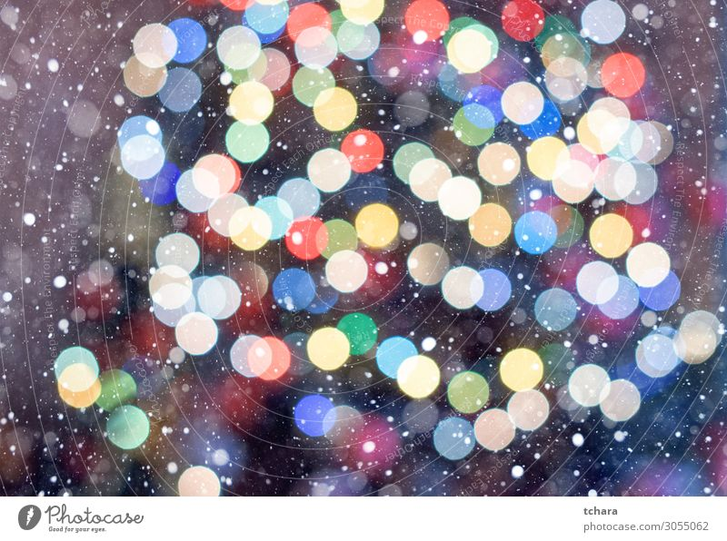 Christmas bokeh Elegant Style Design Happy Beautiful Snow Decoration Feasts & Celebrations Christmas & Advent Art Glittering Bright New Blue Yellow Gold White