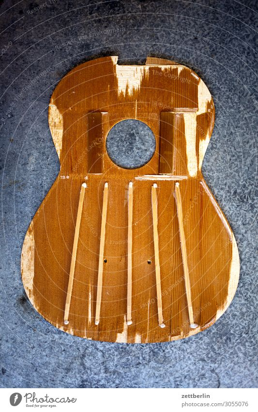 Guitar from inside Blanket Detail Part Luthier Wood Musical instrument Instrument making Clang Keyhole Prop Crossbeam Broken Destruction Deserted Copy Space