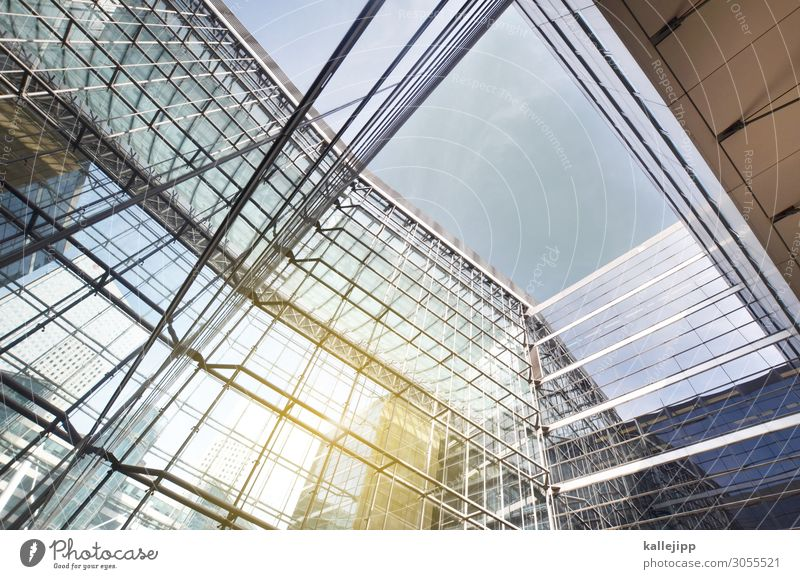 8 Town High-rise Bank building Manmade structures Architecture Facade Future Glas facade Reflection Well of light Light Colour photo Exterior shot Shadow