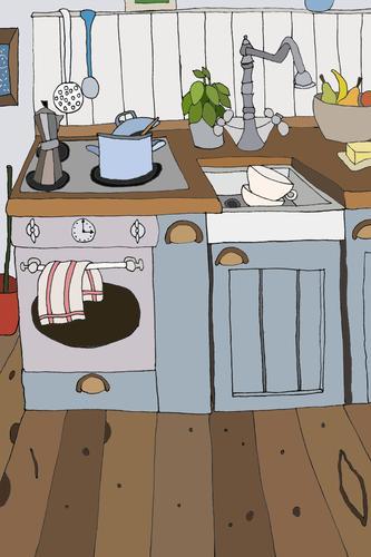 Illustratio neir small kitchen in blue Living or residing Flat (apartment) Interior design Kitchen Uniqueness Retro Illustration Cozy Pot Stove & Oven