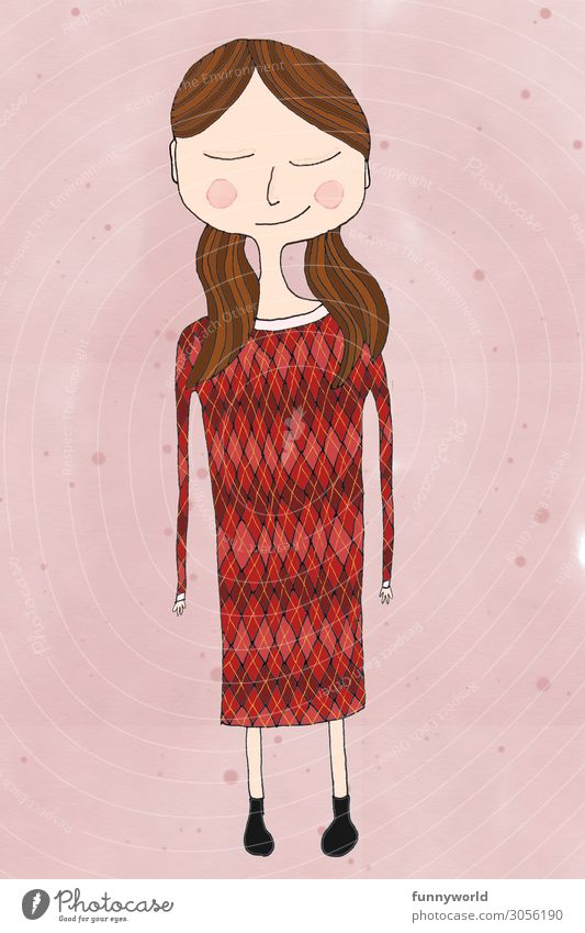 Girl with red dress Young woman Youth (Young adults) 1 Human being Dress Hair and hairstyles Brunette Part Braids Happy Cute Contentment Pattern Red