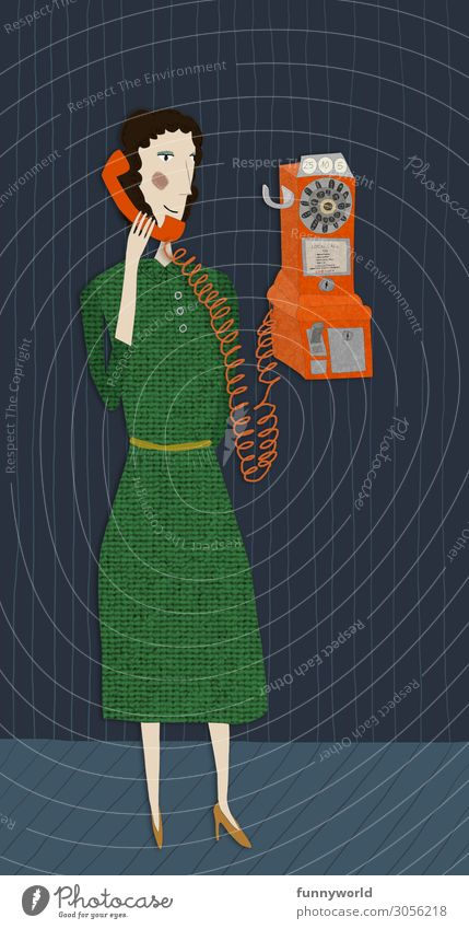 Illustration of a woman with a green dress in retro style, talking on an orange analog phone Woman Adults 1 Human being Skirt Dress High heels Black-haired