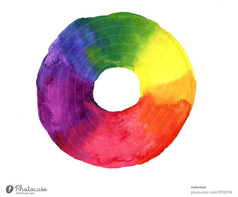 color wheel Art Painting and drawing (object) painting Watercolors Colour Colour wheel color theory Esthetic Creativity Painted primary colours Colour photo
