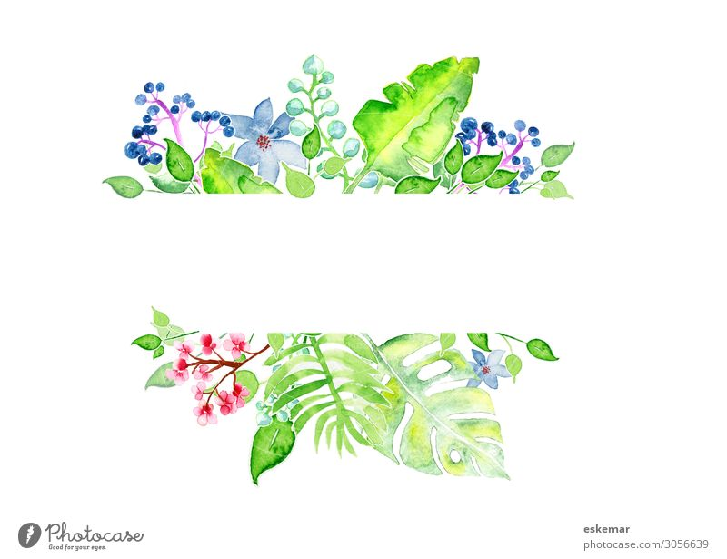 Flowers watercolour with text space Summer Garden Decoration Art Work of art Painting and drawing (object) Watercolors Painted on paper Nature Plant Spring Tree