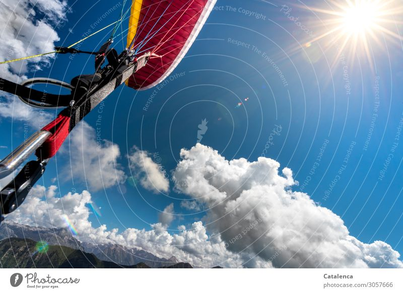 Take off | Paraglites Paragliding Landscape Elements Sky Clouds Sun Summer Beautiful weather Mountain Belt carbine Paraglider Flying To enjoy Hang Blue Yellow