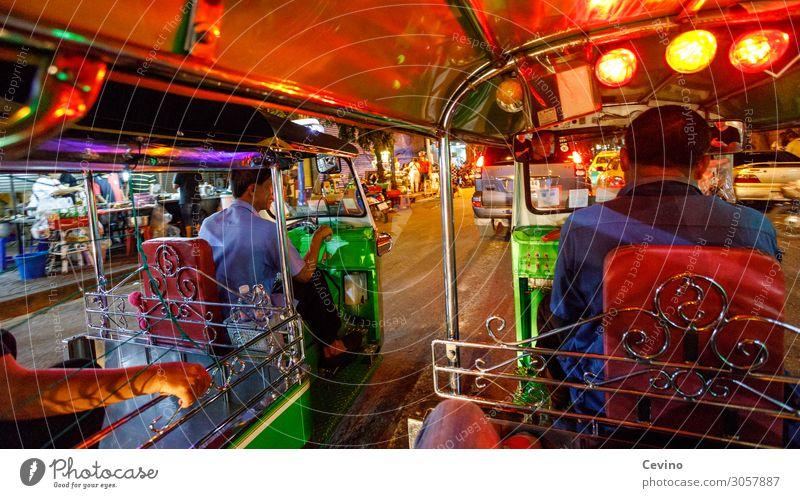 Tuk Tuk in Bangkok at night Took Took Autorickshaw Thailand Night life Driver motley Car journey Taxi Passenger Asia Capital city Tourism Sightseeing