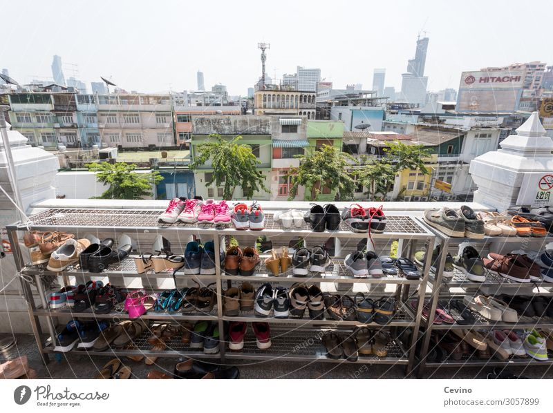 Shoes in front of temple Footwear Shoe rack shoe Temple Bangkok Thailand Prayer pray Skyline Religion and faith Buddha Buddhism Buddhist Asian Exterior shot