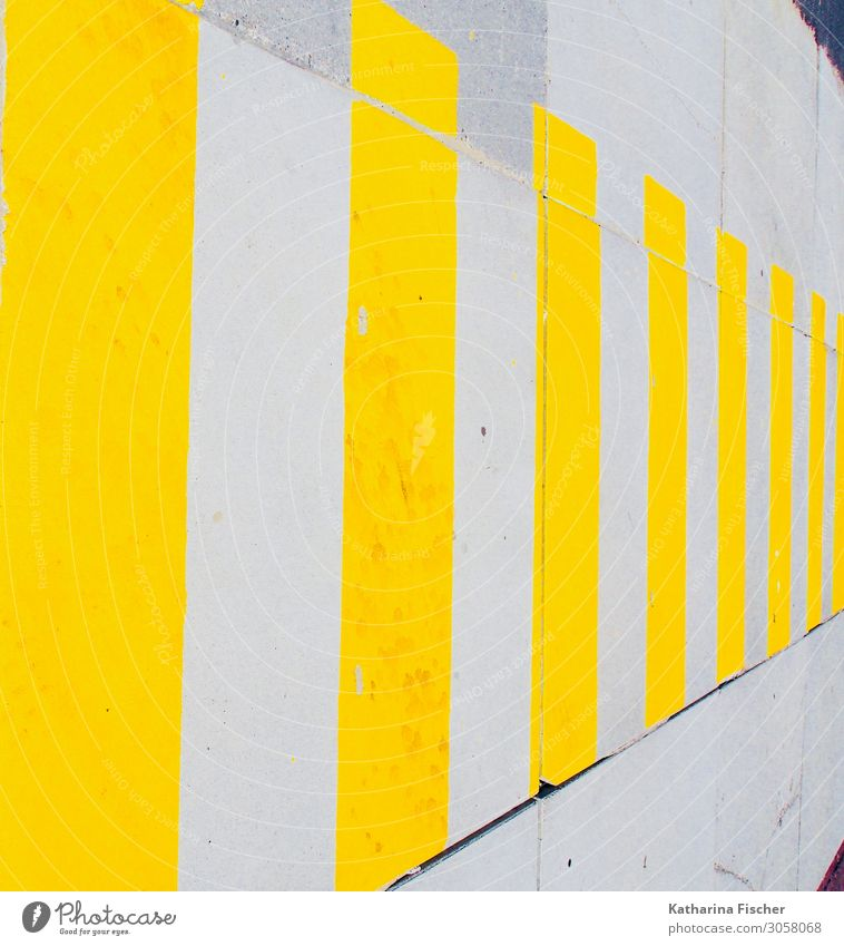 yellow stripes Places Facade Street Lanes & trails Stone Concrete Sign Graffiti Yellow Gold Gray White Stripe Zebra crossing Wall (barrier) Street life