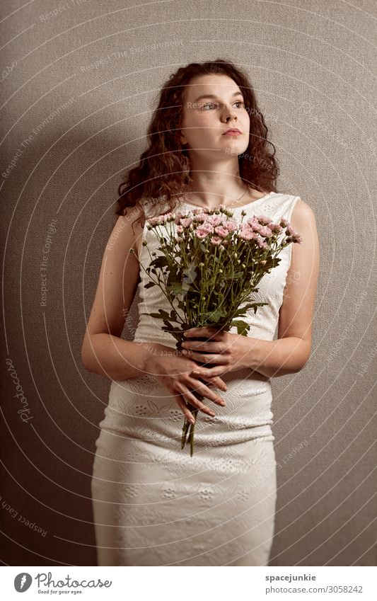 Human being Youth (Young adults) Young woman Summer Beautiful White Flower 18 - 30 years Adults Sadness Feminine Fashion Gray Pink Elegant Romance