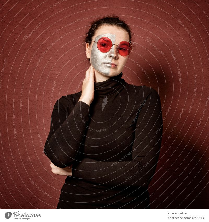 red Human being Feminine Young woman Youth (Young adults) 1 18 - 30 years Adults Art Clothing Accessory Eyeglasses Brunette Observe Touch Relaxation Looking