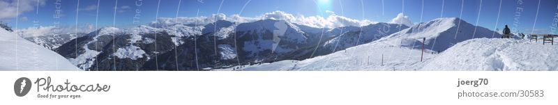 high bench Winter Panorama (View) Mountain Saalbach backglemm skiing Snow Sun Blue sky Large Panorama (Format)