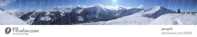 Sun Winter Snow Mountain Large Panorama (Format) Blue sky