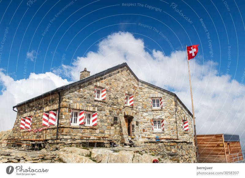 Vacation & Travel Nature Old Landscape Mountain Stone Hiking Weather Roof Alps Flag Hut Switzerland Alpine Alpine hut Crevasse