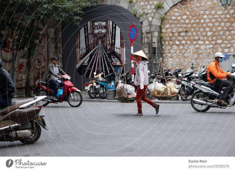Vacation & Travel Town Far-off places Tourism Transport Shopping City trip Old town Exotic Sell Scooter Pedestrian Vietnam Hanoi