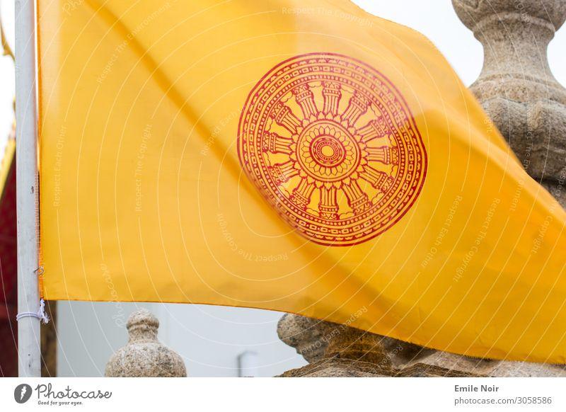 Buddhist Flag Hanoi Vietnam Temple Sign Ornament Yellow Colour photo Exterior shot Day