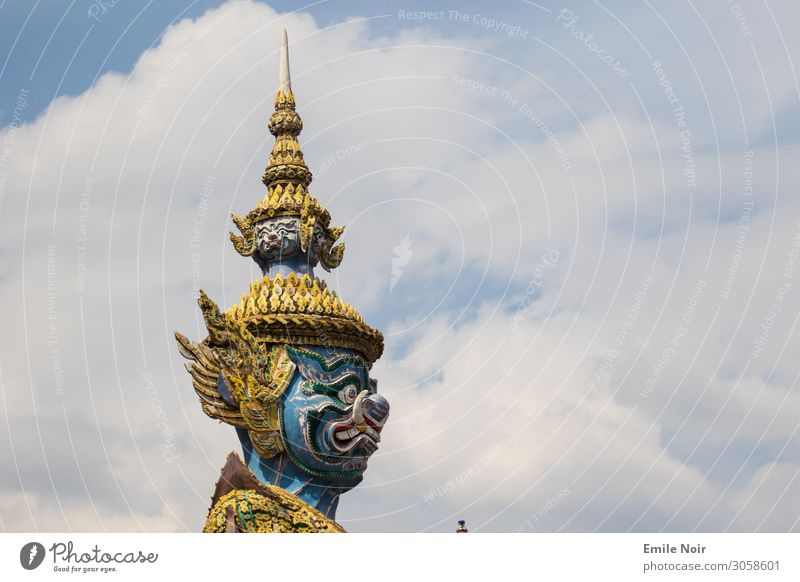 Oni in the clouds Vacation & Travel Tourism Far-off places City trip Bangkok Thailand Architecture Aggression Threat Temple Statue Guard Colour photo