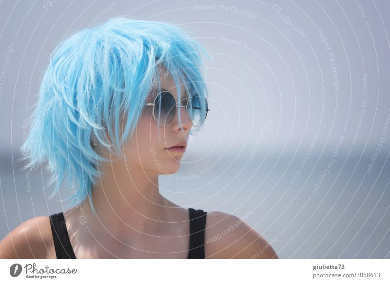 Hipster girl with blue hair! Young woman Youth (Young adults) Life 1 Human being 13 - 18 years Summer Beautiful weather Sunglasses Short-haired Wig Hip & trendy