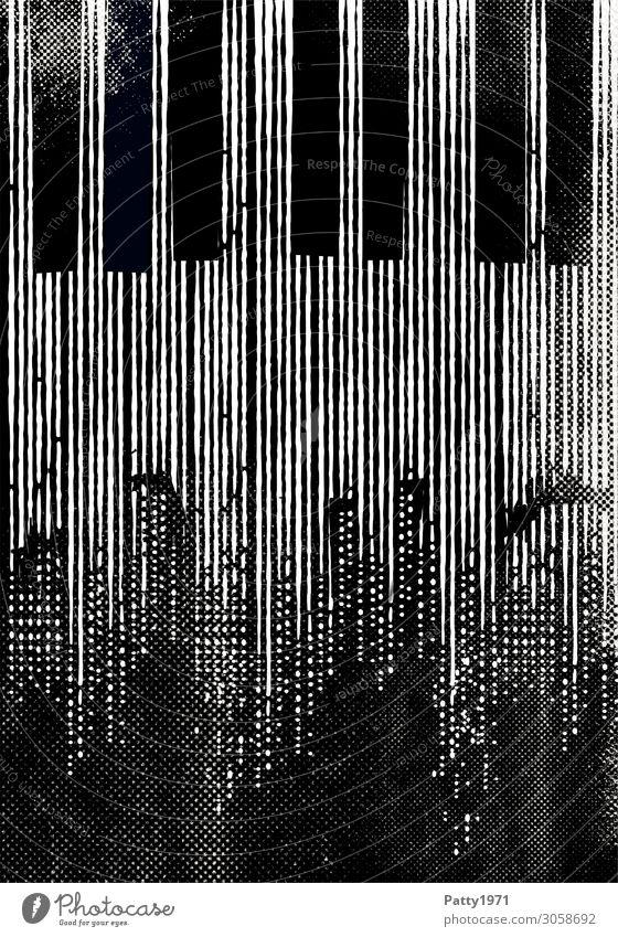 jazz Night life Entertainment Music Concert Piano Keyboard Jazz Blues Town Skyline Deserted High-rise Retro Black White Creativity Culture Art