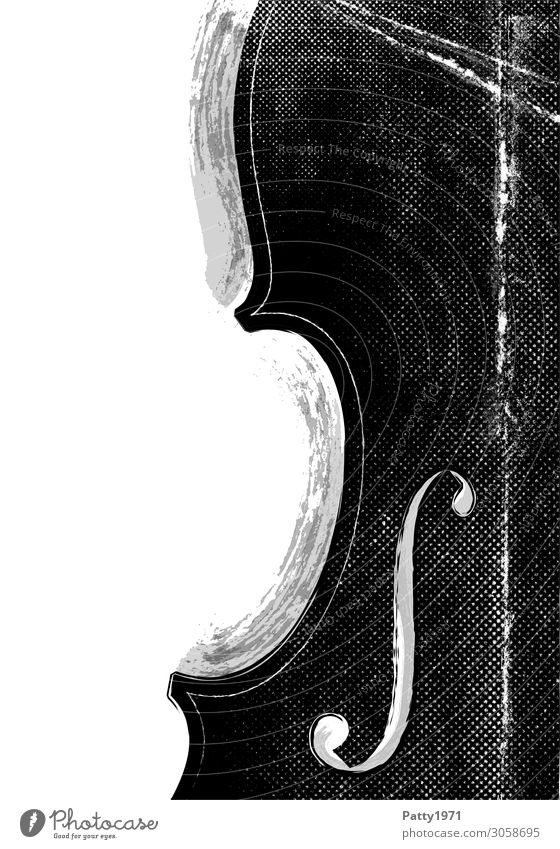 music Music Double bass String instrument Cello Violin Retro Black White Culture Art Illustration Vintage Background picture Black & white photo Abstract