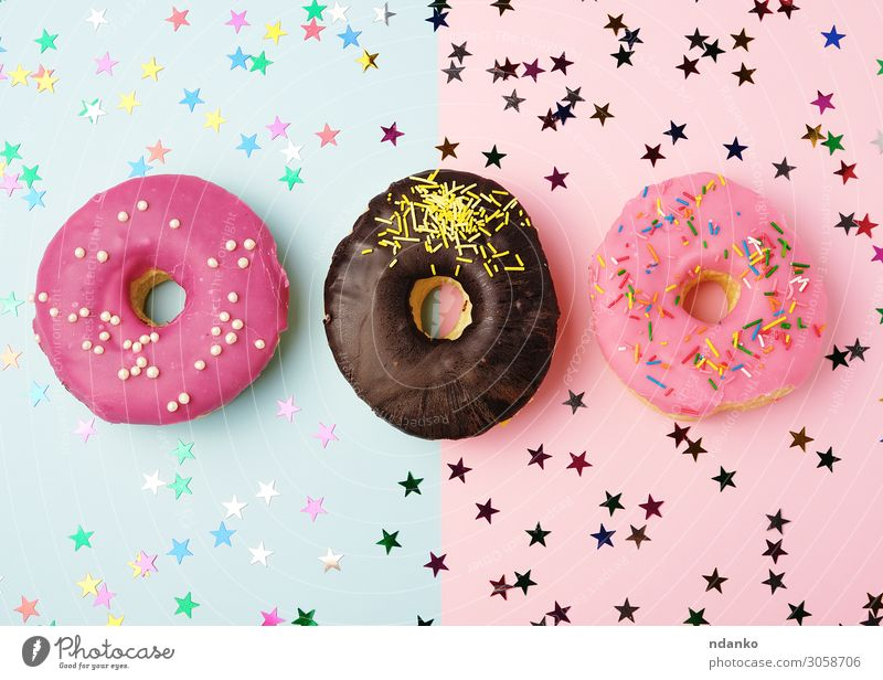 round donuts with various fillings and sprinkles Blue Colour Red Eating Yellow Feasts & Celebrations Exceptional Pink Above Nutrition Decoration Fresh Delicious