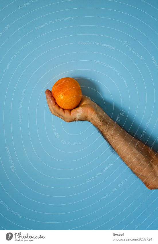 orange in hand on blue wall Fruit Lifestyle Design Human being Man Adults Arm Hand Fingers Nature To enjoy Fresh Blue Colour people Illustration conceptual