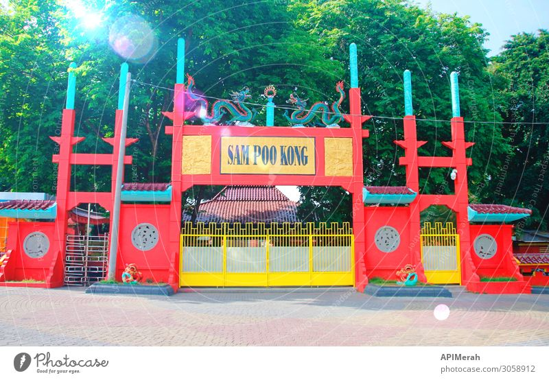 SAM POO KONG TEMPLE, SEMARANG Vacation & Travel Tourism Sightseeing Culture Architecture Street Signage Warning sign Old Historic Red Religion and faith central