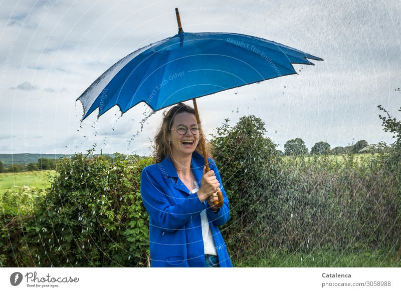 With umbrella, charm... |and rain Young woman Youth (Young adults) 1 Human being Landscape Plant Drops of water Sky Clouds Horizon Summer Bad weather Rain Tree