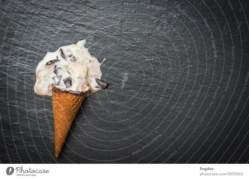 ice cream cone melting scoops vanilla with chocolate dripping Dessert Ice cream Summer Drop Cool (slang) Delicious Brown Green Pink White background sweet