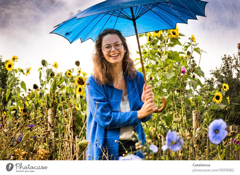 with umbrella Feminine Young woman Youth (Young adults) 1 Human being Plant Drops of water Sky Clouds Summer Bad weather flowers flaked bleed Mallow plants
