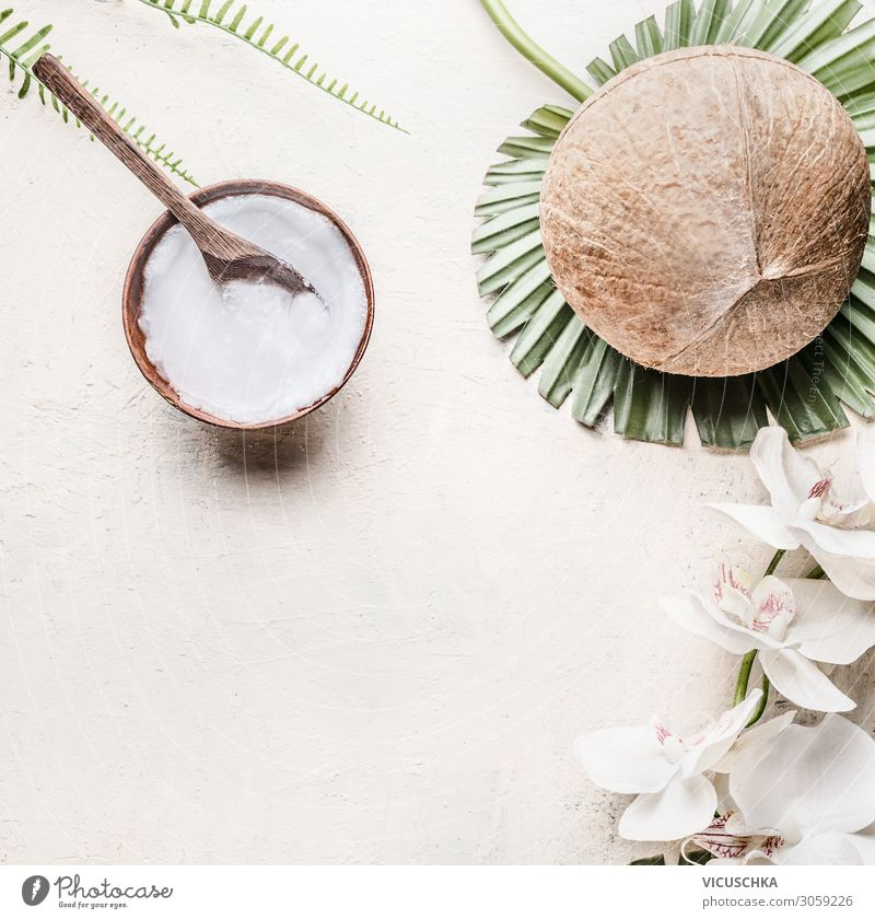 Coconut oil or butter in wooden bowl with spoon Vegetarian diet Style Design Beautiful Cosmetics Healthy Alternative medicine Healthy Eating Wellness Spa Table
