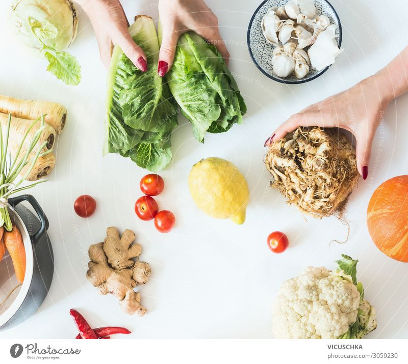 Hands hold various low carbohydrate vegetables Food Vegetable Nutrition Organic produce Vegetarian diet Diet Crockery Shopping Style Healthy Healthy Eating