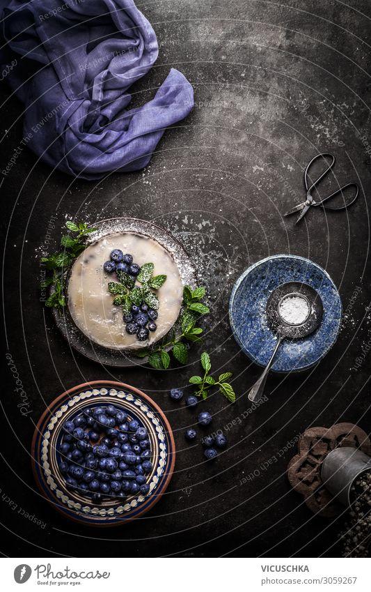 Vegan blueberry pie Food Fruit Cake Dessert Nutrition Organic produce Vegetarian diet Diet Crockery Style Design Healthy Healthy Eating Vegan diet