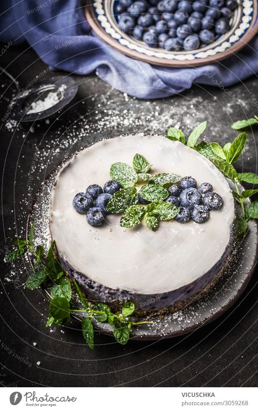 Blueberries no Bake vegan cheesecake with coconut milk Food Fruit Cake Dessert Nutrition Organic produce Vegetarian diet Diet Style Healthy Eating Kitchen
