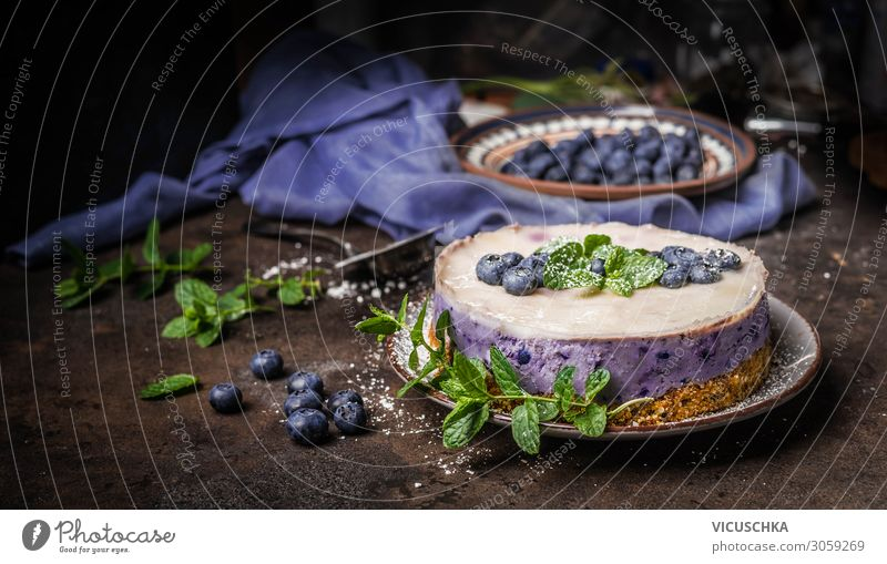Blueberry cake on dark kitchen table Food Fruit Cake Dessert Nutrition Crockery Design Table Vegan diet Background picture blueberries cheesecake cooking