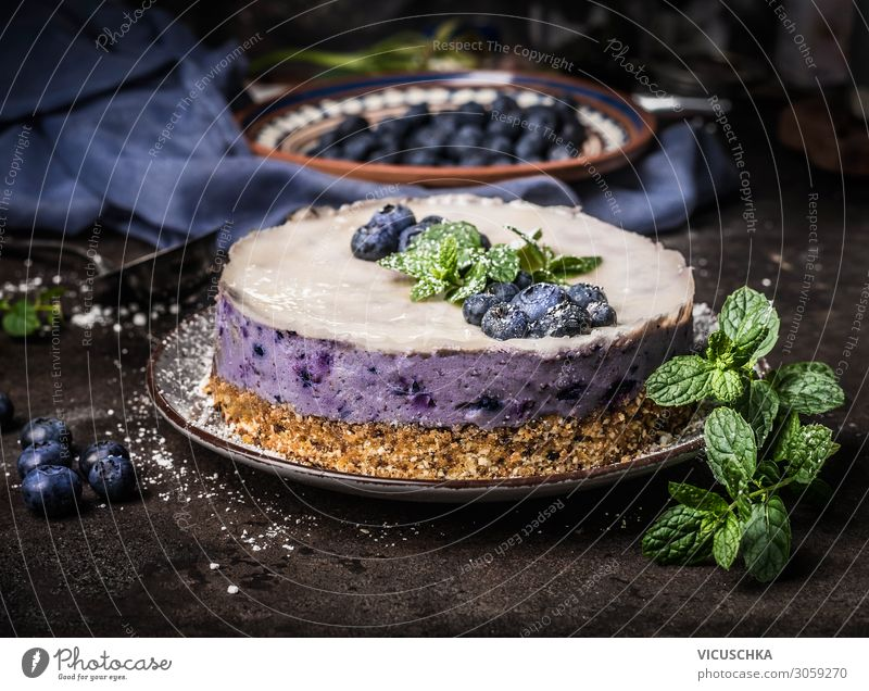 Blueberries cheesecake without baking Food Fruit Cake Dessert Nutrition Organic produce Vegetarian diet Diet Style Healthy Eating Living or residing Design