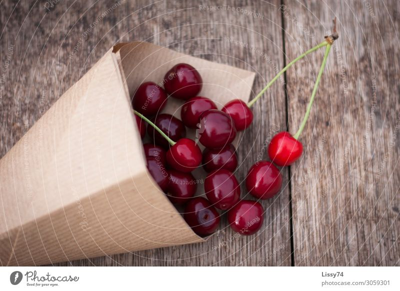 eat cherries well Fruit Cherry Nutrition Fresh Healthy Sweet Red Colour photo Exterior shot Close-up Deserted Copy Space right Day Bird's-eye view
