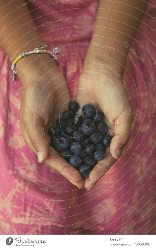 berry Food Fruit Berries blueberries Nutrition Healthy Parenting Student Girl Hand 8 - 13 years Child Infancy Summer Heart Blue Multicoloured Pink Joy Happy