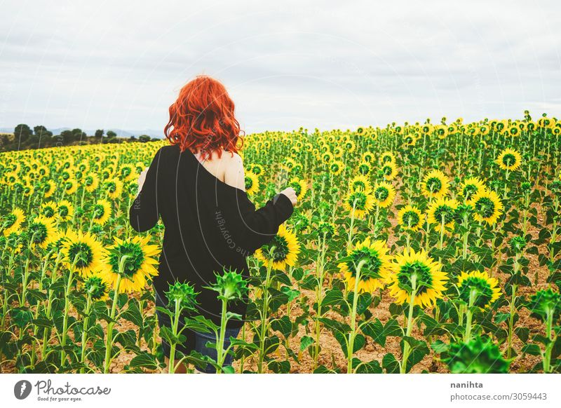 Back view of a redhead young woman in a field of sunflowers Woman Human being Summer Green Landscape Red Flower Loneliness Joy Adults Autumn Yellow Natural