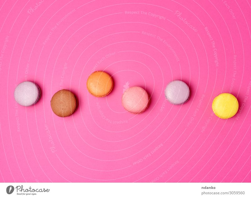 colorful baked macarons almond flour Fruit Cake Dessert Candy Nutrition Eating Fresh Delicious Above Brown Yellow Pink Colour Tradition Almond assorted