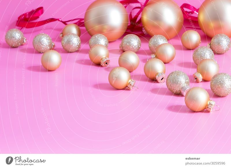 Christmas & Advent Background picture Feasts & Celebrations Pink Above Decoration Gold Multiple Glittering Esthetic Many Sphere Glitter Ball