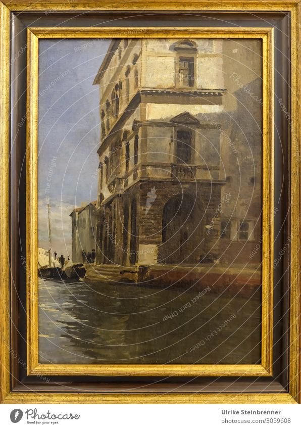 Gustav Bauernfeind: Canal Vena with Palazzo, Oil Study Art Artist Painter Exhibition Museum Work of art Painting and drawing (object) chioggia Italy Village