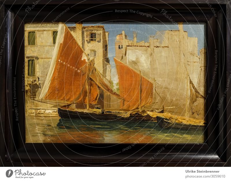 Gustav Bauernfeind: Fishing boats in the port of Chioggia, oil study Art Artist Painter Exhibition Museum Work of art Painting and drawing (object) chioggia