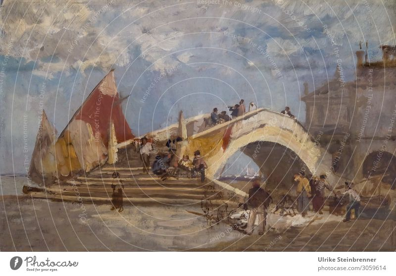 Gustav Bauernfeind: Ponte di Vigo in Chioggia, Oil Study I Human being Art Artist Painter Exhibition Museum Work of art Painting and drawing (object) Village