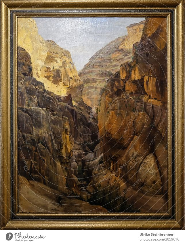 Gustav Bauernfeind: Wadi Kelt (Bach Krith), oil painting Art Artist Painter Exhibition Museum Work of art Painting and drawing (object) Nature Landscape Rock