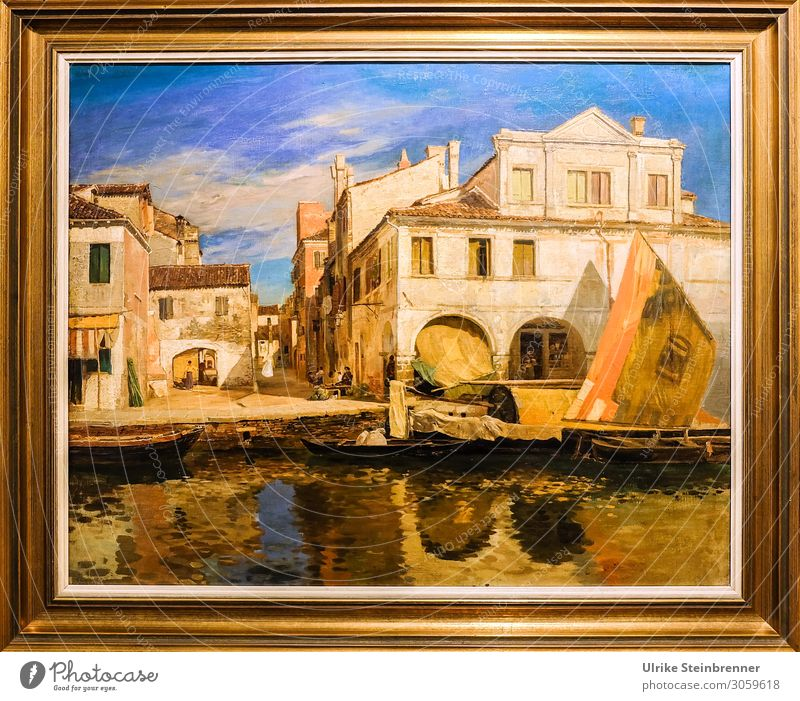 Gustav Bauernfeind: Canal scene in Chioggia, oil, c. 1877 Art Artist Painter Exhibition Museum Work of art Painting and drawing (object) River bank chioggia