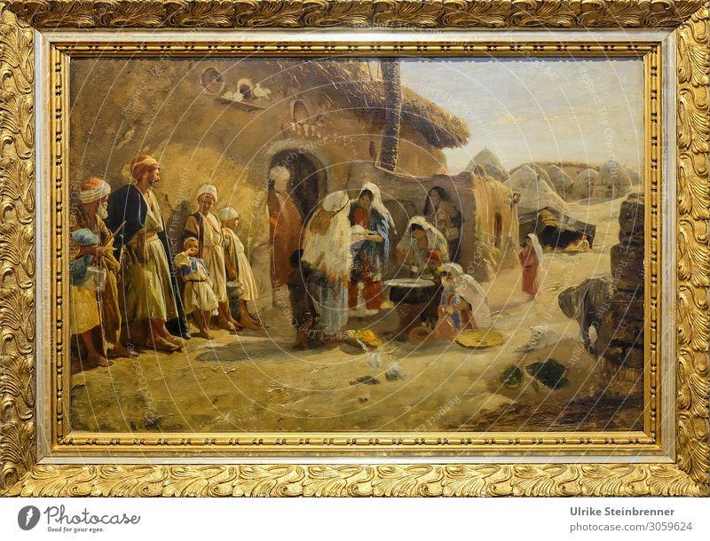 Gustav Bauernfeind: Chan in the plain near Jaffa, oil study Human being Masculine Feminine Life Group Art Artist Painter Exhibition Museum Work of art